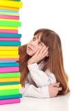 Ragazza dell'adolescente con i libri, alesati Fotografie Stock