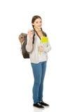 Ragazza dell'adolescente con lo zaino della scuola Immagine Stock