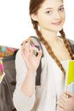 Ragazza dell'adolescente con lo zaino della scuola Fotografia Stock