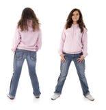 Ragazza dell'adolescente. Parte anteriore e parte posteriore. Fotografia Stock