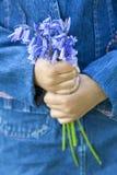 Ragazza dell'afroamericano con il mazzo di Bluebells Fotografie Stock