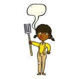 ragazza dell'agricoltore del fumetto con il fumetto Fotografia Stock Libera da Diritti