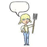 ragazza dell'agricoltore del fumetto con il fumetto Fotografie Stock