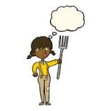 ragazza dell'agricoltore del fumetto con la bolla di pensiero Fotografie Stock Libere da Diritti