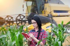 Ragazza dell'agricoltore sul campo con la mietitrebbiatrice Immagine Stock Libera da Diritti