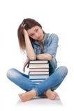 Ragazza dell'allievo con i libri Fotografia Stock