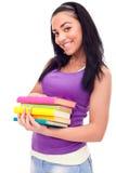 Ragazza dell'allievo con i libri di colore Immagine Stock