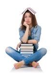 Ragazza dell'allievo con i libri isolati su bianco Fotografia Stock Libera da Diritti