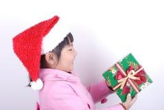 Ragazza dell'Asia con il regalo in mani fotografia stock