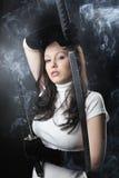 Ragazza dell'assassino di katana di bellezza Fotografie Stock Libere da Diritti