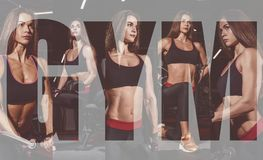 Ragazza dell'atleta in abiti sportivi che la risolve e che forma armi e spalle con la macchina di esercizio in palestra Collage d fotografia stock libera da diritti