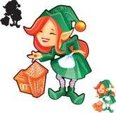 Ragazza dell'elfo con il castello del pan di zenzero Fotografie Stock Libere da Diritti