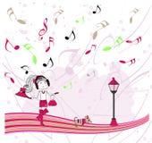 Ragazza dell'illustrazione che ascolta la musica Fotografie Stock