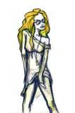 Ragazza dell'illustrazione di modo. Rock star royalty illustrazione gratis