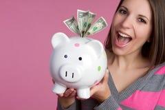 Ragazza della Banca Piggy Fotografie Stock