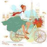 Ragazza della bicicletta illustrazione di stock
