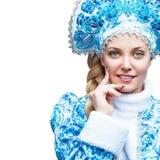 Ragazza della neve Ritratto di inverno di bella giovane donna Cura di pelle Fotografia Stock