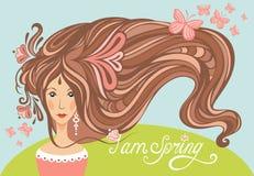 Ragazza della primavera con bei capelli e butterfli lunghi Fotografia Stock