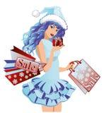 Ragazza della Santa con i sacchetti di acquisto Immagini Stock Libere da Diritti