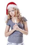 Ragazza della Santa con una forcella Fotografie Stock