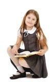 Ragazza della scuola con i libri isolati Fotografia Stock Libera da Diritti