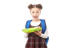 Ragazza della scuola con il lunchbox Fotografia Stock Libera da Diritti