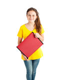 Ragazza della scuola con la cartella rossa Fotografia Stock