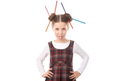 Ragazza della scuola con le matite in capelli Fotografie Stock Libere da Diritti