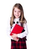 Ragazza della scuola isolata su bianco Allievo con i libri Fotografia Stock Libera da Diritti