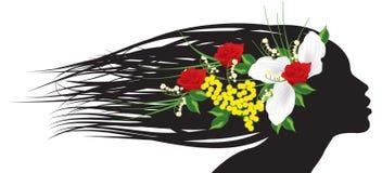 Ragazza della siluetta con i fiori Fotografie Stock Libere da Diritti
