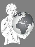 Ragazza della siluetta con il globo Immagine Stock Libera da Diritti