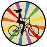 Ragazza della siluetta sulla bici Fotografia Stock Libera da Diritti