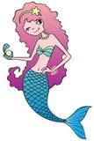 Ragazza della sirena con la perla Immagini Stock Libere da Diritti