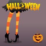 Ragazza della strega - fondo di Halloween Immagine Stock