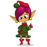 Ragazza della treccia di Elf di Natale Illustrazione della cartolina d'auguri di natale con la ragazza sveglia dell'elfo Immagine Stock