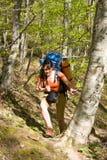 Ragazza della viandante con lo zaino in la foresta di primavera fotografia stock libera da diritti