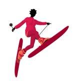 Ragazza dello sciatore dell'afroamericano Fotografia Stock