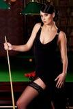 Ragazza dello snooker Fotografie Stock Libere da Diritti