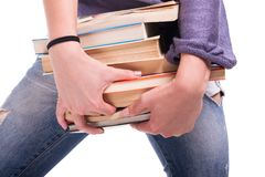 Ragazza dello studente con i libri in primo piano Immagine Stock