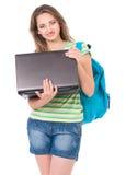 Ragazza dello studente con lo zaino Fotografia Stock