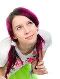 Ragazza dentellare bizzarra di emo dei capelli Fotografia Stock