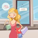 Ragazza di acquisto con i sacchetti illustrazione di stock