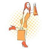 Ragazza di acquisto con le borse arancio Illustrazione dell'annata Immagini Stock