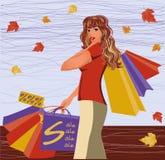 Ragazza di acquisto di autunno Immagini Stock Libere da Diritti