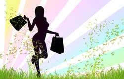 Ragazza di acquisto felice illustrazione di stock