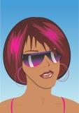 Ragazza di Afro con gli occhiali da sole Immagini Stock Libere da Diritti