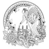 Ragazza di angelo di Zen Tangle dell'illustrazione di vettore con i fiori illustrazione di stock