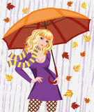 Ragazza di autunno con l'ombrello Fotografia Stock Libera da Diritti
