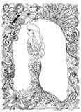 Ragazza di Beautyful, principessa, vestito lungo, illustrazione di vettore Disegno di scarabocchio Esercizio meditativo Anti sfor Fotografia Stock