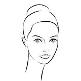 Ragazza di bellezza Bello fronte della donna di modo inchiostro Immagini Stock Libere da Diritti